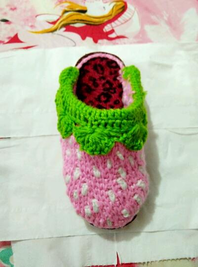 毛线拖鞋草莓图案图纸图片分享