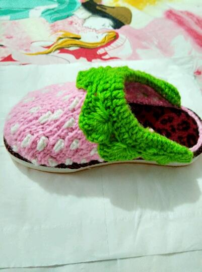 毛线草莓拖鞋