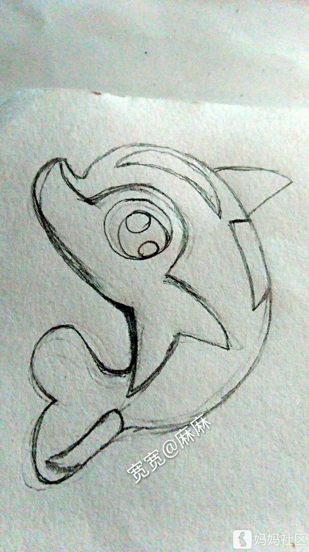 铅笔画海豚步骤图
