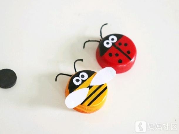 【手工diy】饮料瓶盖手工diy小蜜蜂 小瓢虫