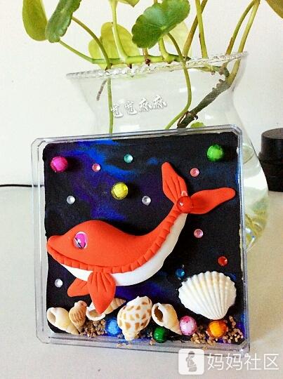 轻粘土捏出一条红色海豚【附教程】